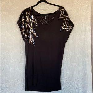 H&M black sequin tunic size M